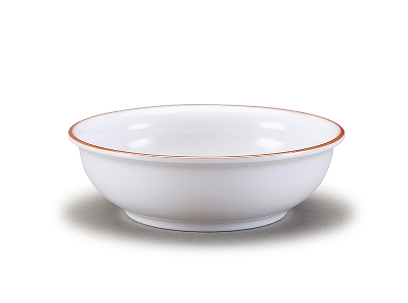 "Melamine serving bowl with golden rim 7""/5.5""/5"""