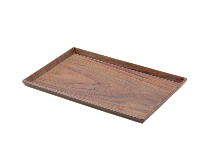 Wooden style wholesale melamine plastic food tray for restaurant